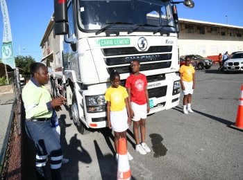 Carib Cement teaches students about truck blind spots