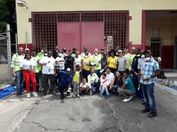 Carib Cement team volunteers at the Rollington Town Fire Station for Labour Day