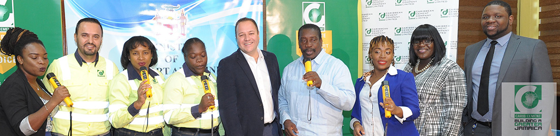 Members of the Road Safety Unit, the Ministry of Transport and Mining and the Carib Cement team are delighted that the breathalyzers donated by Carib Cement will help make the roads safer.