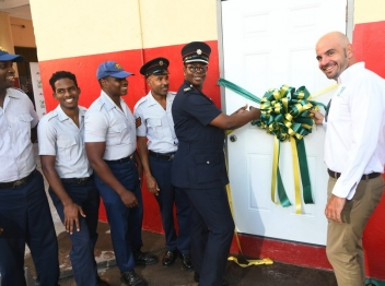 Carib Cement donates decontamination unit to Rollington Town Fire Station